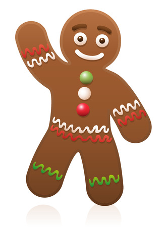christmas cookie: Gingerbread man waving - cute and sweet Christmas cookie.