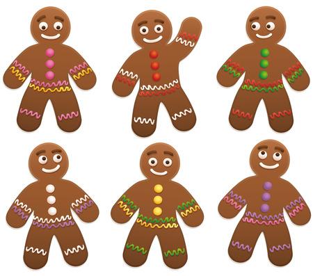 Gingerbread man group - geïsoleerde vector illustratie op witte achtergrond.