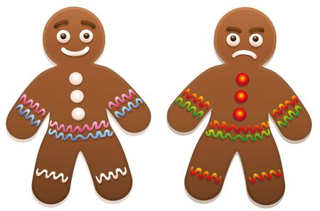 and delighted: Gingerbread man - one is happy, the other is angry.