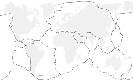 Tectonic plates unlabeled - world map with fault lines of major to minor plates.