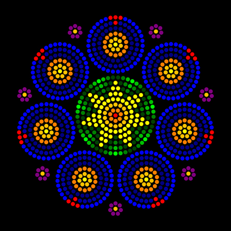 impression: Rosette window radial dot patterns. Leadlight impression generated by single dots beginning from the center, forming circles, patterns and a rose window look, also called Catherine or wheel window.
