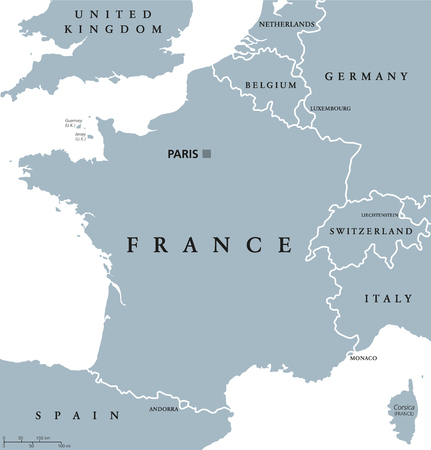 France political map with capital Paris, Corsica, national borders and neighbor countries. Gray illustration with English labeling and scaling on white background. Illustration