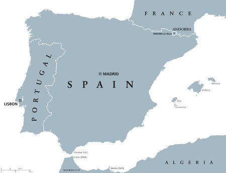 peninsula: Portugal and Spain political map with capitals Lisbon and Madrid, Balearic Islands and national borders. Gray illustration of Iberian Peninsula with English labeling and scaling on white background. Illustration