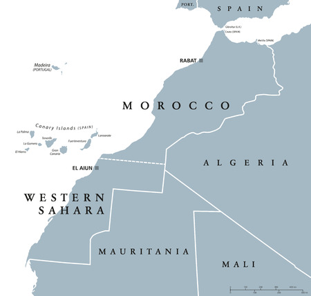 Morocco and Western Sahara political map with capitals Rabat and El Aiun and with national borders. Gray illustration with English labeling and scaling on white background.