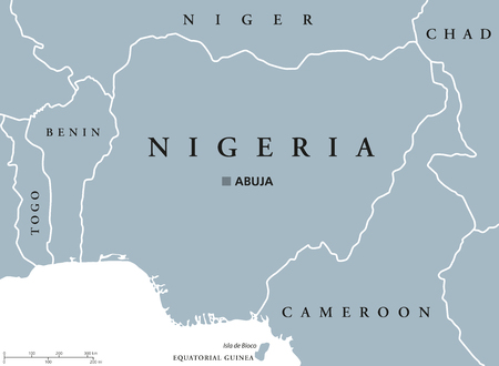 scaling: Nigeria political map with capital Abuja, national borders and neighbor countries. Gray illustration with English labeling and scaling on white background.