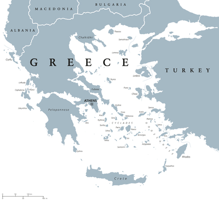 neighbor: Greece political map with capital Athens, with most important peninsulas and islands, with national borders and neighbor countries. Gray colored illustration with English labeling over white. Illustration