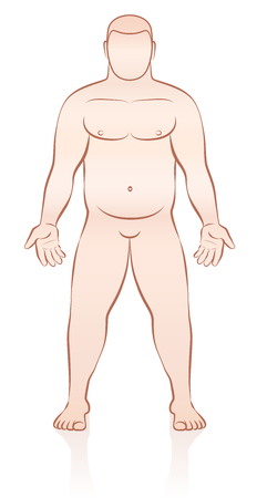 nude: Overweight naked anonymous man - outline vector illustration.