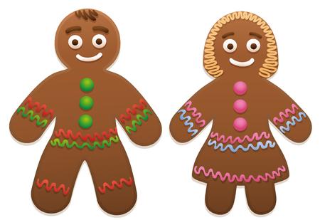Lebkuchen-Mann und Frau - niedlich und süß Weihnachtsplätzchen Paar.