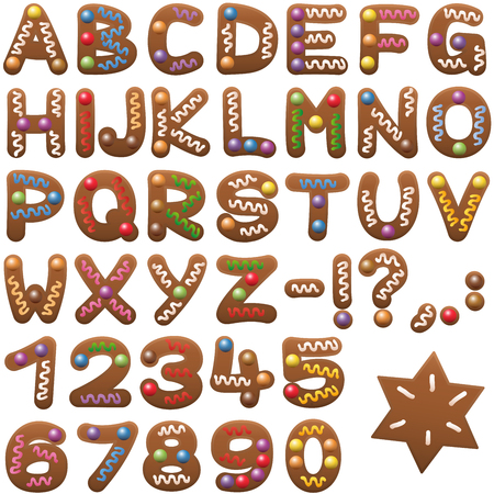 and comma: Gingerbread alphabet - sweet christmas cookie font. Illustration