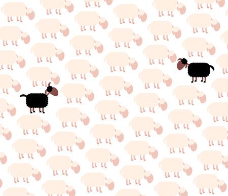 sufferer: Black sheep - fellow sufferer - among white sheep flock.