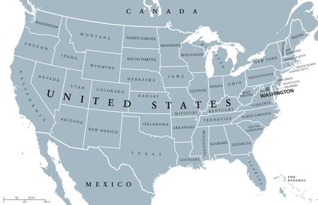 USA Vereinigte Staaten von Amerika politische Landkarte mit der Hauptstadt Washington, einzelne Staaten, den Nachbarländern und Grenzen außer Hawaii und Alaska. Grau farbige Darstellung mit englischen Beschriftung und Skalierung. Standard-Bild - 67962860