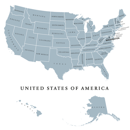 USA United States Of America Political Map With Capital ...