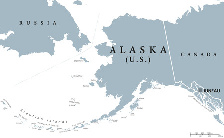 americas: Alaska political map with capital Juneau. U.S. state in the northwest of the Americas with international borders and neighbor countries Russia and Canada. Gray colored illustration. English labeling.