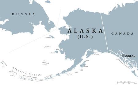 mapa politico: mapa político con capital de Juneau de Alaska. estado de los EEUU en el noroeste de América con las fronteras internacionales y los países vecinos de Rusia y Canadá. ilustración en color gris. Inglés etiquetado. Vectores