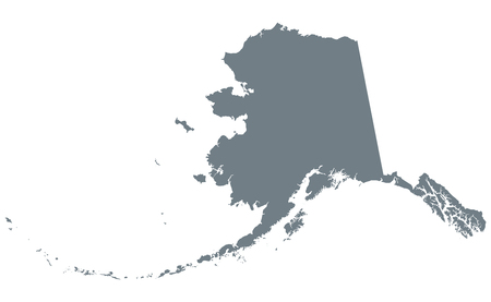 アラスカのシルエット。アメリカ大陸の北西部の州。ダークグレー色の白い背景の上の図。