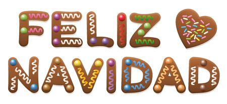 gingerbread cake: Feliz Navidad - Merry Christmas in spanish - written with gingerbread cake.