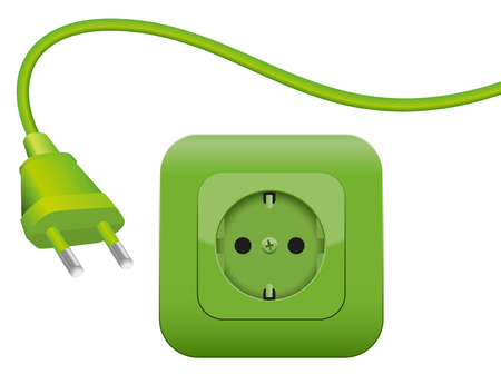 connectors: Green plug and socket - clean eco power - green energy- SCHUKO connector system.