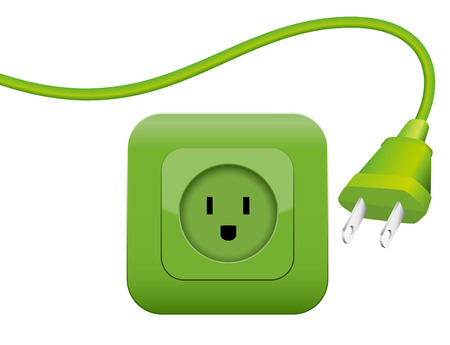 clean energy: Green plug and socket - clean eco power - green energy - NEMA connector system. Illustration