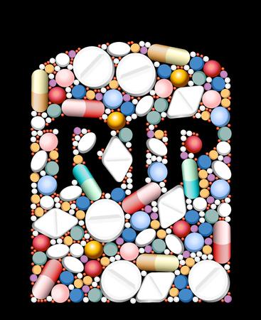 sobredosis: RIP - lápida construida de pastillas y cápsulas como un símbolo para la sobredosis, cantidad excesiva o incompatibilidad de las drogas. Vectores