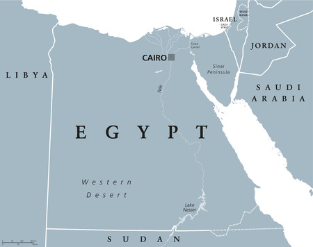 neighbor: Egypt political map with capital Cairo, with Nile, Sinai Peninsula and Suez Canal. Arab Republic of Egypt with international borders and neighbor countries. Gray colored illustration. English labeling Illustration