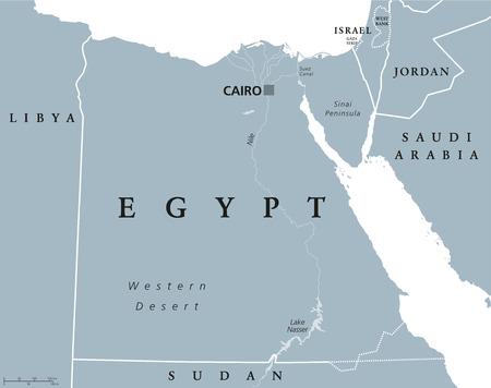 mapa politico: Mapa político de Egipto con capital, El Cairo, con el Nilo, Península del Sinaí y del Canal de Suez. República Árabe de Egipto con las fronteras internacionales y los países vecinos. ilustración en color gris. Inglés etiquetado