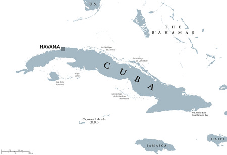 guantanamo: Cuba political map with capital Havana. Republic in the northern Caribbean with the neighbor countries Jamaica, Haiti, the Cayman Islands and The Bahamas. English labeling and scaling. Illustration. Illustration