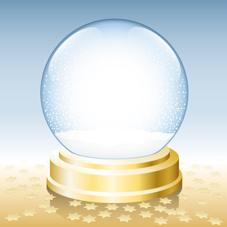 Snow globe on golden base - waiting to be filled and decorated.