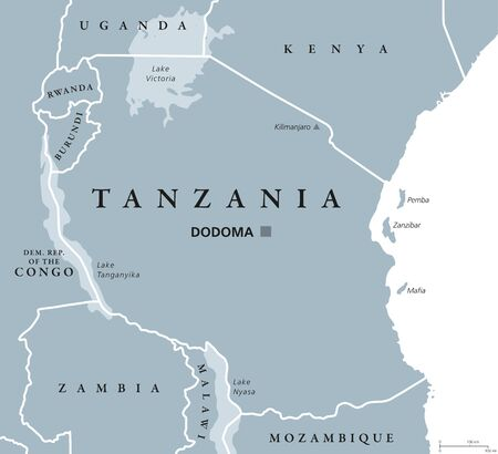 tanganyika: Tanzania political map with capital Dodoma, national borders, islands Zanzibar, Pemba and neighbor countries. Republic in Eastern Africa. English labeling. Gray colored illustration over white. Illustration