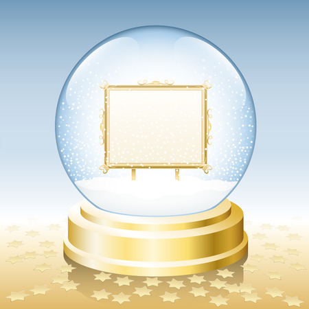 Snow globe with golden frame to insert any photo or text.