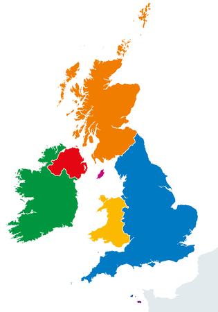 Britse Eilanden landen silhouetten kaart. Ierland en Verenigd Koninkrijk landen in Engeland, Schotland, Wales, Noord-Ierland, Guernsey, Jersey en Isle of Man in verschillende kleuren. Vector iIllustratie.