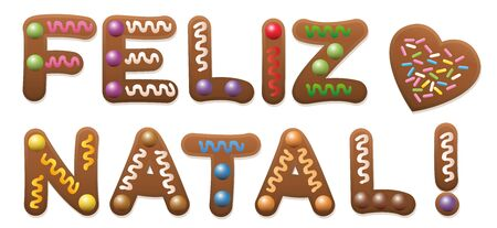 gingerbread cake: FELIZ NATAL - Merry Christmas in french - written with gingerbread cake. Illustration