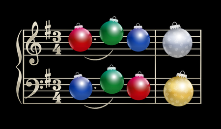 melodic: Colorful baubles instead of notes - musical notation on black background.
