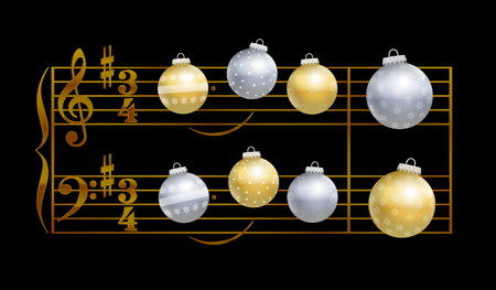 christmas night: Baubles playing christmas song Silent Night - musical notation on black background.