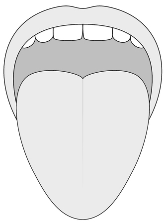 protruding: Stuck out tongue - outline illustration on white background.