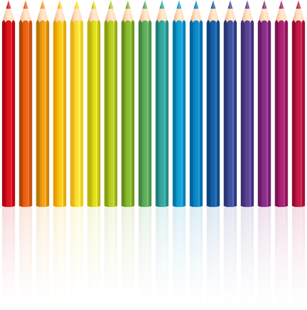 crayon: Crayons - rainbow colored set, upright standing in a row - seamless pattern can be created.