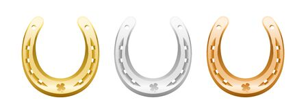 four leaved: Gold, silver and bronze horseshoe with cloverleaf icon. Illustration