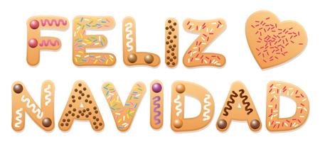 oracion: Feliz Navidad - Feliz Navidad en español - escrito con letras de galletas de navidad. Vectores