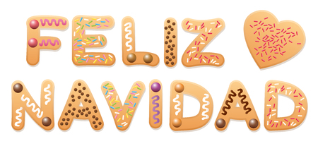 sentence: FELIZ NAVIDAD - Merry Christmas in spanish - written with letters christmas cookies. Illustration