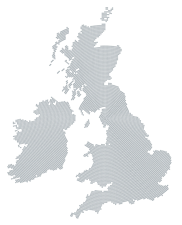 isles: British Isles map radial dot pattern. Gray dots going from the center forming the silhouettes of Ireland and United Kingdom with the island Great Britain. Illustration on white background. Vector.