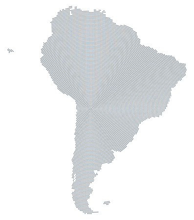 South America map radial dot pattern. Gray dots going from the center forming the silhouettes of the continent including the Falkland and Galapagos Islands. Illustration on white background. Vector. Illustration