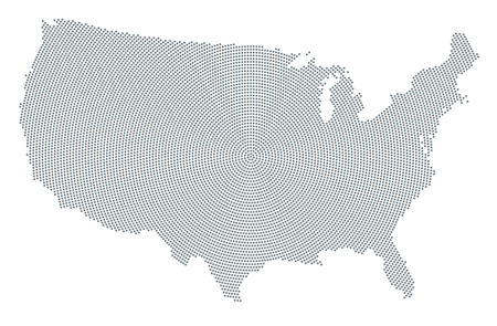 United States of America map radial dot pattern. Gray dots going from the center outwards forming the silhouette of USA without Alaska and Hawaii. Illustration on white background. Vector. Illustration