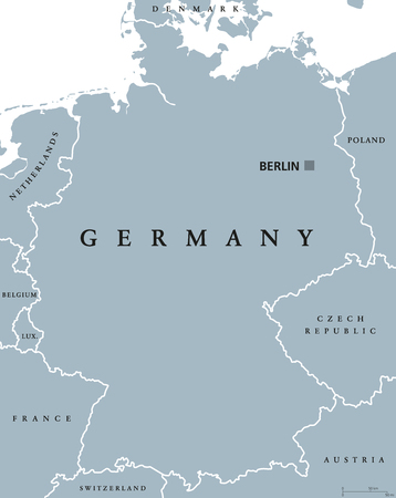 scaling: Germany political map with capital Berlin, national borders and neighbor countries. Gray illustration with English labeling and scaling on white background. Vector. Illustration