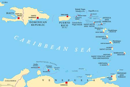 Kleine Antillen politieke kaart. De Caribbees met Haïti, de Dominicaanse Republiek en Puerto Rico in de Caribische Zee. Met hoofdsteden en nationale grenzen. Engels labeling. Illustratie. Vector.