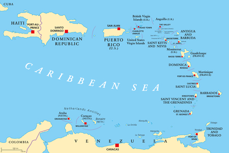 Lesser Antilles political map. The Caribbees with Haiti, the Dominican Republic and Puerto Rico in the Caribbean Sea. With capitals and national borders. English labeling. Illustration. Vector. Ilustrace
