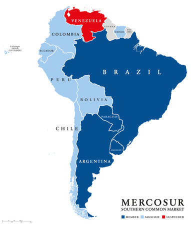 MERCOSUR countries map with suspended member Venezuela. Southern Common Market, also Mercosul. Free trade bloc with members Argentina, Brazil, Paraguay, Uruguay. English labeling. Illustration. Vector Stock Illustratie