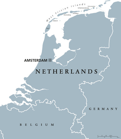 neighbor: Netherlands political map with capital Amsterdam. Holland with national borders and neighbor countries. Gray illustration with English labeling and scaling on white background. Vector.