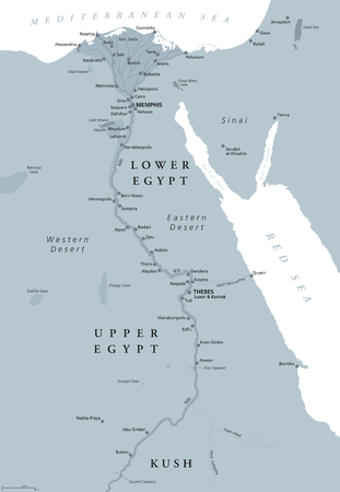Ancient Egypt map with important sights, Sinai peninsula, Nile river and delta. Northeastern Africa. Kush, Upper and Lower Egypt and capitals Memphis and Thebes. English labeling. Illustration. Vector