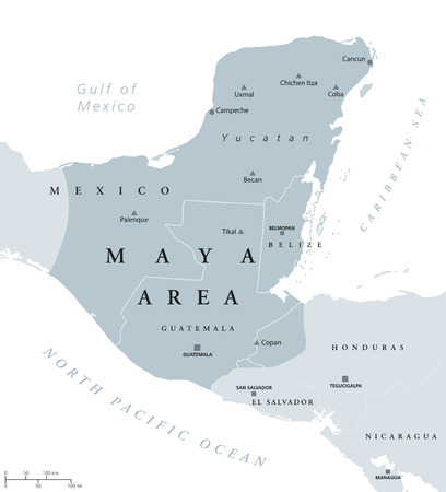 yucatan: Maya area political map. Mesoamerican civilization and high culture of pre-Columbian Americas. Capitals, national borders and most important ancient cities. Illustration with English labeling. Vector.
