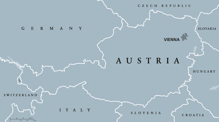 landlocked: Austria political map with capital Vienna, national borders and neighbor countries. Federal republic in the heart of Europe. Gray illustration with English labeling on white background. Vector.