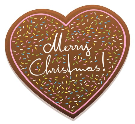 christmas baker's: MERRY CHRISTMAS - written on a gingerbread heart. Illustration